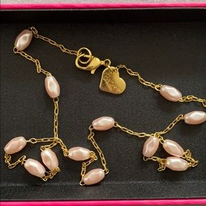 Barbie Gold and Pink Pearl Necklace
